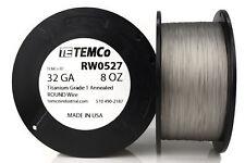 TEMCo Titanium Wire 32 Gauge 8 oz (5084 ft) Surgical Grade 1 Resistance AWG ga