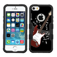 3-Layer Hybrid Case (Blk/Blk/Grip) for Apple iPhone 5 5s - Guitar/Red