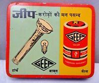 Vintage Bulb Batteries Advertising Tin Box Jeep Brand Miniature Litho Print Colo