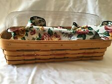 Longaberger 1997 Woven Bread Basket W/ Protector & Floral Liner With Brick