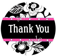 300 LABELS - 10 SHEETS - BLACK FLORAL WITH PINK THANK YOU STICKERS - SEMI GLOSS