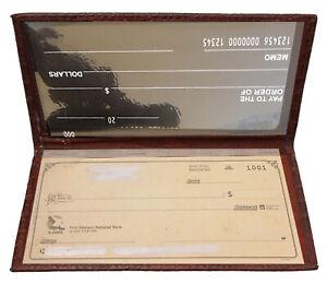 Burgundy Genuine Leather Plain Checkbook Cover Long Wallet For Men Lady