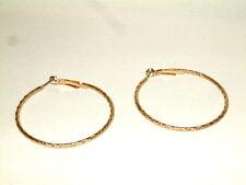 "Jjb 745, Beautiful Embossed Gold Tone Hoops, Dsigned For Pierced Ears, Abt 2"""