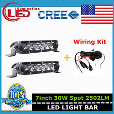 2X 7inch 30W Cree Led Single Row Light Bar Slim Spot Offroad 4WD Ford+Wiring Kit
