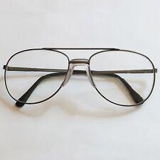 Bifocal Aviator Large Men's Reading Glasses Shiny Gray Metal Frame +1.25 Lens