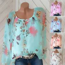 Plus Size Women Boho Floral Long Sleeve Blouse Loose Tops Ladies Autumn T Shirt