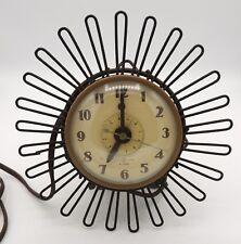 Mid Century GE Tin Can Clock Starburst Metal Unusual