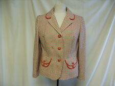 """Ladies Jacket - Lee Mason, Bust 32"""",Red/Grey,Pure New Wool, Rips to lining- 1835"""