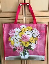 TJ Maxx Pink Flowers Bouquet Vase Reusable Shopping Bag Tote Eco-Friendly Green