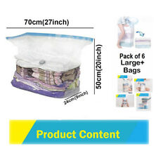 6 Large Cube Space Saver Vacuum Storage Solution Bag For Clothes, Pillows,Duvets