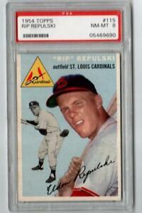 1954 Topps #115 Rip Repulski St. Louis Cardinals  PSA 8 NM-MT