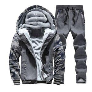 Hiver Hommes Survêtement à Capuche Chaud Velours Veste Pantalon SPORTS Costumes