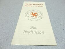 Welsh Highland Railway Society Subscription Invitation *FREE SHIPPING*