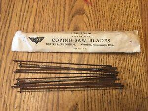 "Vintage Millers Falls No. 60 Package 1 Dozen 6"" Pin Pattern Coping Saw Blades US"