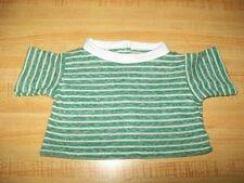 "15-18"" CPK Cabbage Patch Kids GREEN STRIPE KNIT TEE SHIRT W/ WHITE NECKBAND"