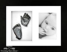 Nouveau Cadeau Bébé 3D Kit de moulage plâtre Mains Pieds Cadre d'affichage noir étain