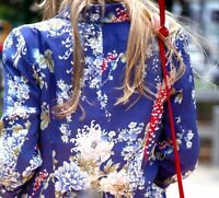 ZARA WOMAN BLAZER PRINT FLORAL BLUE COAT JACKET ORIENTAL FLOWER SILKY - M