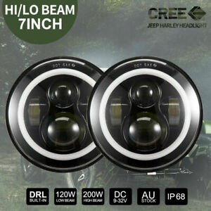 7 inch 200W CREE Round LED Headlights Jeep Wrangler TJ JK 97-17 Halo Angel Eyes