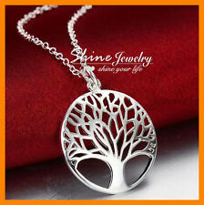 925 Sterling Silver Filled Tree of Life Necklace Leaf Classic Timeless Pendant