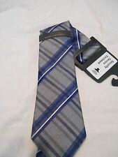 Marc Anthony Silk Blend Blue Gray Plaid Classic Neck Tie SR$40 NEW