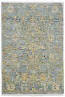 """Hand Knotted Blue Gray Oushak Wool Tribal New Oriental Rug Carpet 4'2"""" x 6'1"""""""