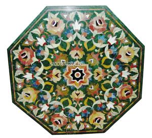 Green Marble Coffee Table Top Semi Precious Marquetry Inlay Art Home Decor H2920
