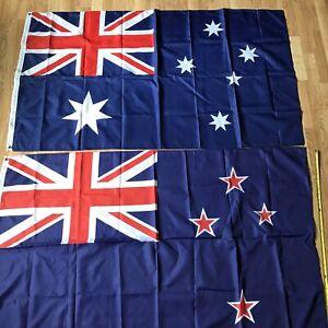 Lot Of 2 Flags 3'x5' Australia Australian & New Zealand Polyester W Grommets