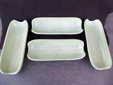 Pfaltzgraff Green Corn on the Cob Ceramic Footed Holder Dish Lot!  4!!