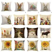 Happy Easter Bunny Cushion Cover Linen Sofa Car Pillow Cover Pillow Case Decor
