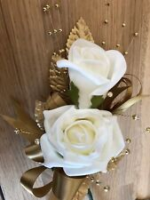 Wedding Flowers Ivory & Gold with Diamantes  Wedding Corsage/ Buttonhole