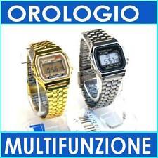 OROLOGIO ELEGANTE/SPORT CRONO MULTIFUNZIONE TIPO CASIO A159W F-91W ORO SILVER