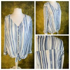 Ladies Blue Top Size 2X 22/24 Stripy Long Adjustable Sleeve Casual NEW NWOT