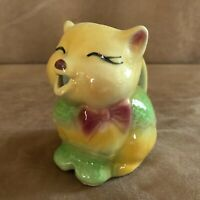 Shawnee Puss N Boots Pitcher Cat Art Pottery Vintage creamer yellow MCM green