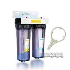 "High Flow 2 Stage Water Filter System Slim Portable 3/4"" Ports Whole House & RV"
