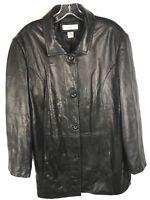 PRESTON & YORK Women's Black Genuine Leather Button Up Jacket Size XL