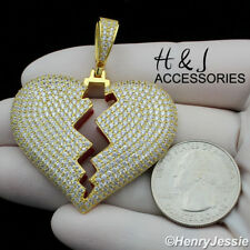 Bling 3D Gold Broken Heart Pendant*Agp235 Men 925 Sterling Silver Icy Diamond