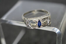 Antique Art Deco 18k White Gold Filigree Sapphire Wedding Band Sz 6 & 2.5 Grams