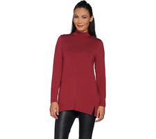 5b52a784851 H by Halston Essentials Mock Neck Tunic w/Forward Seams Shiraz Color Size M