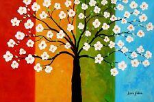 Modern Art - Almond Blossoms Tree Seasons 60x90 cm Oil Painting