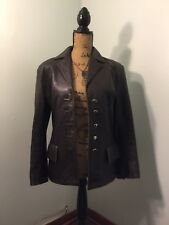 Vintage Dero by Rocco D'Amilio Chocolate Brown Size Small Leather Coat