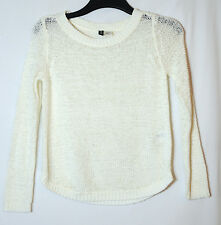 WHITE IVORY LADIES CASUAL TOP JUMPER SIZE 6  EU 32 DIVIDED H&M