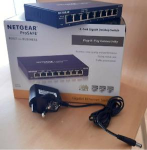 NETGEAR GS108 Network Switch 8Port Gigabit Ethernet HubDesktop Internet Splitter