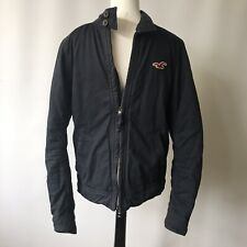 HOLLISTER Men's Jacket Navy Cotton Outer Quilted Lining Medium Damaged Zip