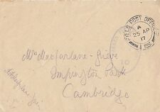 MILITARY : 1917 FIELD POST OFFICE  15 double circle cancel on envelope