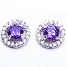Stud .925 Sterling Silver Earrings Top Seller! Beautiful Amethyst Gemstone Cz