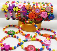 10/12pcs Mixed Wholesale Kids Children Wood Bead Elastic Bracelets Favor Jewelry