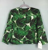 Zara Green Black White Tropical Palm Leaf Print Retro Blogger Jacket RRP £49.99