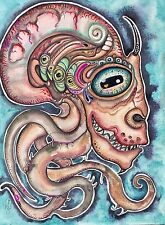 Lisa Luree art Original ALIEN VISIONARY creature painting READY TO HANG ooak Wow