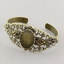 2PC Antique Bronze 25x18mm Blanks Tray Filigree Brass Cuff Bangle Bracelets 56mm
