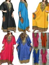 NEW LADIES PLUS SIZE SOLID VISCOSE COTTON LONG KAFTAN DRESS AFRICAN STYLE 16-30